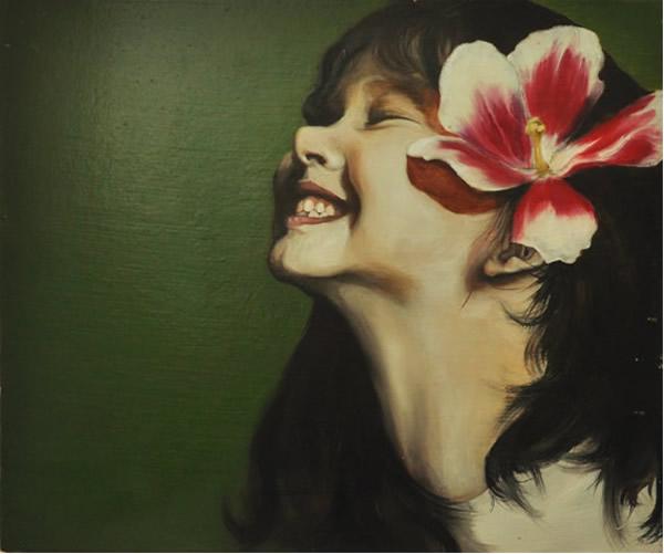 美术油画作品:快乐的小女孩